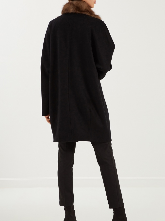 Пальто из кашемира Loro Piana с отделкой мехом соболя баргузинского кряжа