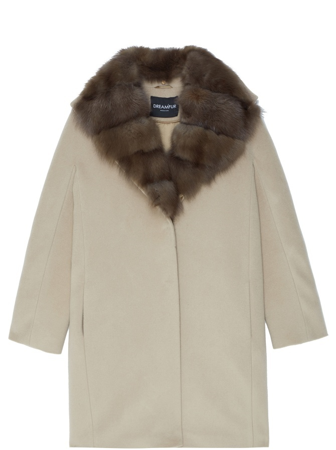 Пальто из кашемира Loro Piana с отделкой мехом куницы
