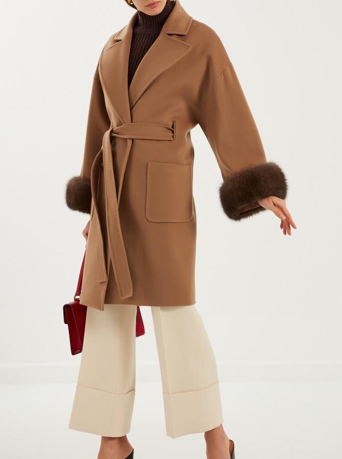 Пальто из кашемира Loro Piana с отделкой мехом соболя баргузинского