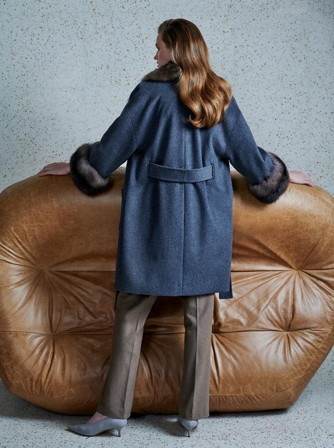 Пальто из кашемира Loro Piana с отделкой мехом соболя